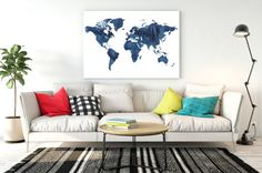 World map watercolor Navy Blue watercolor world map Large