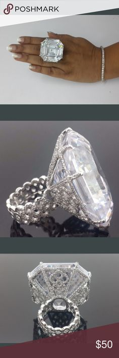🔥🔥large 18k high grade cut cz ring Large white topaz ( lab created) ring. Coming soon Jewelry Rings