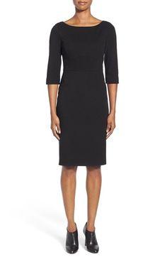 Classiques Entier® Italian Ponte Bateau Neck Sheath Dress (Regular & Petite) available at #Nordstrom