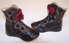 high button shoes 1860 | ... Brown Leather Red Tassel High Button Baby Boots Child Shoes. Tweet