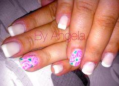 #french #white #beige #pink #flower #vintage #nail #art