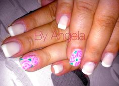 #french #white #beige #pink #flower #vintage #nail #art