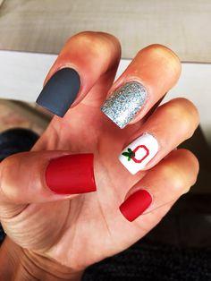 Red Silver Blackwhite Chevron Nail Art Nail Art Pinterest