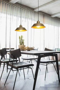Enhance your living space with the Brass Factory Pendant Light. This traditional shade is made from pure brass and has a natural finish. Industrial Interiors, Vintage Industrial, Industrial Style, Fat Shack, Dining Area, Dining Room, Brass Pendant Light, Loft House, Curved Glass