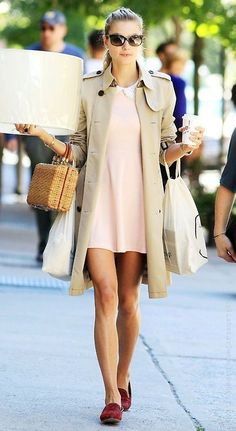 classic trench coat over peterpan collar cream- pastel pink dress + burgundy loafer