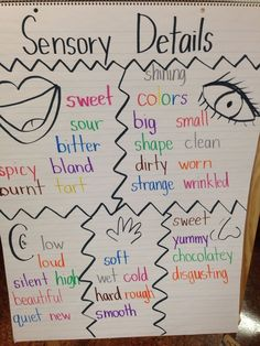 Sensory Details Anchor Chart or for a 5 senses unit 1st Grade Science, Kindergarten Science, Narrative Writing, Writing Workshop, 5 Senses Activities, 5 Senses Preschool, Preschool Charts, Kindergarten Anchor Charts, Childcare Activities