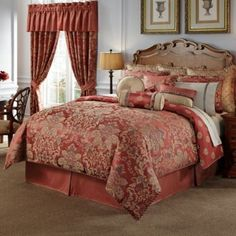 The Waterford Linens Hamilton Comforter features a richly woven damask in soft camel, tawny brown, and charcoal on a lush cinnabar ground. Variegated yarns and multiple weave techniques combine with a sateen woven ground to create a warm textural look. Comforter Sets, Luxury Mattresses, Bedding Master Bedroom, Bed, Waterford Bedding, Bed Bath And Beyond, Clean Bedroom, Luxury Bedding, Bedroom