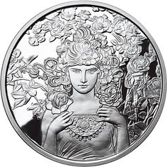 1 oz Silver Antique Round Mucha Collection (Rose) Mintage: This is the third of a six-round series featuring the artwork of the great Alphonse Mucha Lotus, Sculpture Art, Sculptures, Coin Logo, Alphonse Mucha Art, Tiki Art, Coin Art, Coins For Sale, Art Series