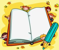 school background with children - an open book Place for text ,