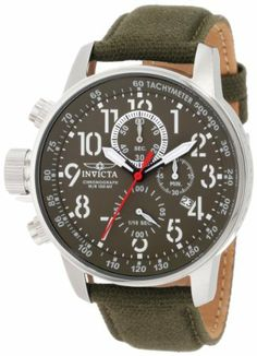 Invicta Men's 1874 Force Chronograph Green Dial Green Cloth Strap Watch Invicta. $111.89. Olive Green Dial with White Hands and Arabic Numerals; Red Second Hand; Luminous; Tachymeter on Inner Bezel; Crown Located at 9:00. Japanese Quartz Movement. Chronograph Functions with 60 Second, 60 Minute and 1/10th of Second Subdials; Date Function. Mineral Crystal; Polished Stainless Steel Case; Olive Green Cloth Strap with Leather Backing. Water-resistant to 330 feet (100 M)