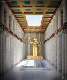 This is the Athena Statue in the Parthenon. I would use this as lighting inspiration for inside the palace in ancient Athens. Ancient Ruins, Ancient Rome, Ancient Greece, Mayan Ruins, Acropolis Greece, Parthenon Athens, Ancient Greek Architecture, Classical Architecture, Mosque Architecture