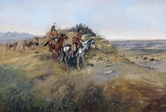 Charles Russell, Buffalo Hunt, Native American Indians, WEST 20x14 Canvas Art