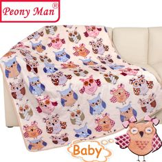 i-baby Baby Blankets Toddler Blankets for Girls Boys Children Soft Big Flannel Blankets Pink Blue Cot Throws Swaddle Newborns Four Seasons Double-sided Cartoon 110 x 140 cm Dream Fly