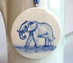 Elephant - Handpainted Delft Porcelain Ornament. $43.00, via Etsy.