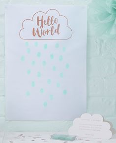 This fingerprint guest book would be a lovely memento of your baby shower. Pick yours up at partydelights.co.uk where you can discover the rest of our Hello World baby shower supplies.