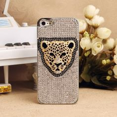 Jewelled Leopard Charm Bling iPhone 5 Case Made of Swarovski Elements