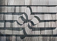 Mosaic Shingle Company crafts beautiful shingle design kits, right here in the U. Cedar Shingle Siding, Cedar Shake Siding, Cedar Shakes, Cedar Shingles, Exterior Siding, Barn Door Designs, Cottage Exterior, Crafts Beautiful, Saunas