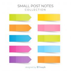 Pack of small sticky notes in realistic style Free Vector Post Its, Colorful Notes, Paper Bookmarks, Note Memo, Sticky Paper, Paper Banners, Notebook Paper, Torn Paper, Good Notes