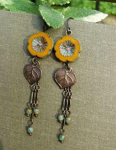 Yellow Flower Earrings Boho Picasso Czech Glass by BonArtsStudio