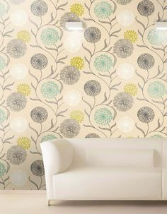 $37.64 Price per roll (per m2 $7.06), Floral wallpaper, Carrier material: Paper-based wallpaper, Surface: Smooth, Look: Matt, Design: Flowers, Basic colour: Light ivory, Pattern colour: Yellow green, Grey, Turquoise, White, Characteristics: Lightfast, Wet removable, Paste the wallpaper, Water-resistant