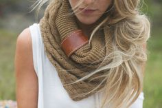 Knitted Infinity Boho Scarf & Indie Vintage Leather Cuff Accent