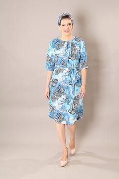 Light Blue classic modest  midi dress with belt and by TAMARLANDAU