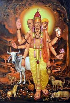 Swami Akkalkot, Gajanan Maharaj, and Sai Baba combined as Sri Dattatreya Indian Saints, Saints Of India, Om Namah Shivaya, Swami Samarth, Lord Balaji, Mahakal Shiva, Shree Ganesh, Hindu Mantras, Tanjore Painting