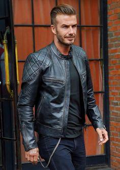 David Beckham Black Biker Mens Leather Jacket at the online store Leatherobe.com