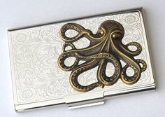 Steampunk Business Card Case Brass Octopus Card by CosmicFirefly, $48.00