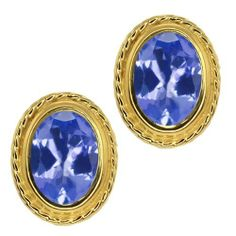 1.50 Ct Oval Shape Blue Tanzanite Yellow Gold Plated Silver Stud Earrings Gem Stone King. $119.99. This Item Contains 100% Natural Stones. This item is proudly custom made in the USA