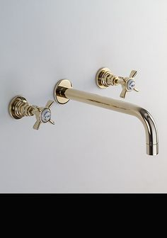Gold Wall Mounted Basin Taps (43DD)