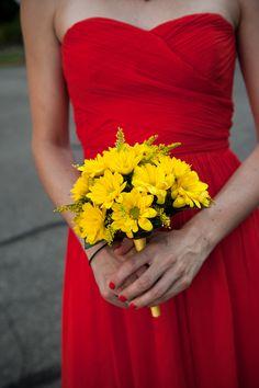 Yellow Bridesmaid Bouquet 275x412 Glen Echo Park Wedding Ceremony: Abbey + Nick