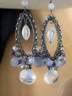 Blue Gemstone Chandelier Earrings Chalcedony Moonstone Sterling Silver