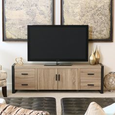 Amazon.com - New 70 Inch Modern Industrial TV Stand- Ash Grey Reclaimed Look with Black Trim -