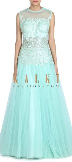 Buy this Mint gown embellished in embossed zari embroidery only on Kalki