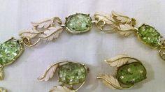 Emmons Jewelry Set Signed Bracelet/Necklace & Earrings Green Rhinestones Vintage #Emmons