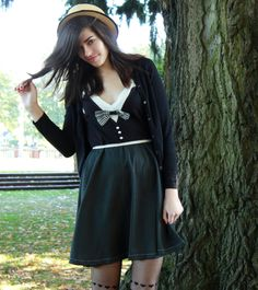 Tuxedo Dress  black and white low cut buttons and by Minxshop, $130.00