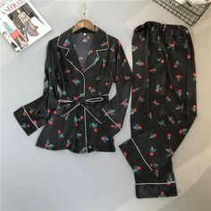 Pajama and Trousers Set with Long Sleeve for Women