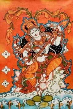 Goddess Saraswathi Kerala mural painting (via innu. Saraswati Painting, Krishna Painting, Madhubani Painting, Krishna Art, Indian Traditional Paintings, Indian Art Paintings, Oil Paintings, Hindus, Kerala Mural Painting