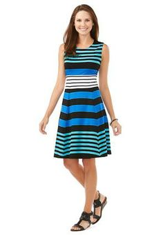 Cato Fashions Fit and Flare Striped Flip Flop Dress Modest Dresses, Plus Size Dresses, Plus Size Outfits, Pretty Outfits, Cute Outfits, Affordable Plus Size Clothing, Summer Outfits, Summer Clothes, Summer Clothing