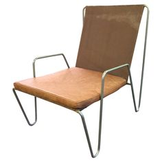 Verner Panton Early Edition Bachelor Armchair Canvas, Steel and Leather, Denmark | From a unique collection of antique and modern armchairs at https://www.1stdibs.com/furniture/seating/armchairs/