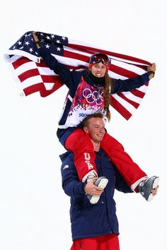 Maddie Bowman of the United States celebrates winning the gold medal in the Freestyle Skiing Ladies' Ski Halfpipe Finals with David Wise, gold medal winner in the Men's Ski Halfpipe (c) Getty Images