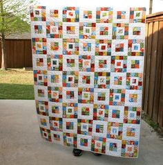 Royal Squares Quilt - Large Modern Throw Quilt