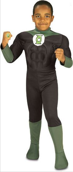 Disfraz de niño DC Comic. Linterna Verde, musculoso