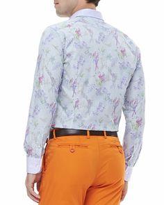 Etro Micro-Check Bird-Print Jacquard Shirt & Cotton-Twill Pants - Bergdorf Goodman