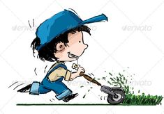 Boy Cutting Lawn  #GraphicRiver         Grunge style illustration of a boy in farmer's suspenders cutting lawn The illustration has 3 layers: 1)Lineart 2)Color & 3)The Lawn   ENJOY !!! and… Rate if you like what you see… Thanx!!!     Created: 10January12 GraphicsFilesIncluded: VectorEPS Layered: Yes MinimumAdobeCSVersion: CS Tags: baseball #boy #cap #daisy #farm #farmer #garden #gardening #grass #grunge #lawn #little #mower #profile #reelmower #running #sideview #smiley #smiling…