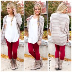 Knit Mocha Cardigan Cold Weather Outfits, Fall Winter Outfits, Cute Simple Outfits, Cute Outfits, Red Skinny Jeans, Trendy Clothes For Women, Virtual Closet, Mocha, Passion For Fashion