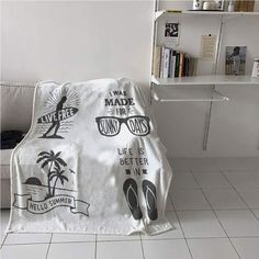 """WodCht Quote Blanket Multi-Function,Collection of Summer Themed Typography Artworks with Beach Sunglasses Palm Pattern,Oversized Travel Throw Cover Blanket,Blanket for Sofa Couch Bed 60"""" x 91"""""""
