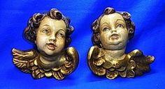 Pair Vintage German Wood Carved Cherub Angels Handpainted