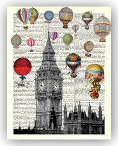 "London print, Ballooning across Big Ben, Hot air balloon, ""FLY'' Dictionary page background, fantasy collage print"